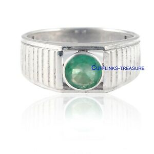 Natural Emerald Gemstone with 925 Sterling Silver Ring For Men's