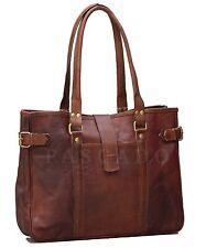 Handmade Rustic Brown Genuine Vintage Leather Tote Handbag Purse Women Bag Retro