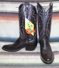 Justin Diamond J Brown Leather Cowboy Boots Mens 7 D / Womens 8.5 M New In Box