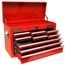 HARDCASTLE RED 9 DRAWER METAL TOP CHEST TOOL STORAGE BOX/BALL BEARING RUNNERS