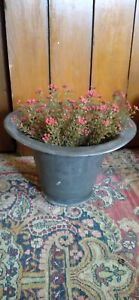 "Early Antique Primitive Unmarked Pewter Plant Holder Bowl 7.5"" T Dark Patina"