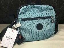 $89 Kipling Keefe Waterfall Dusty Blue Black Striped Dash Crossbody Shoulder Bag