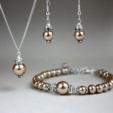Brown vintage pearl crystal necklace bracelet earrings wedding bridal silver set