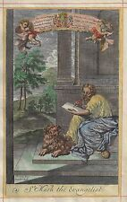 Blome's Bible History - ST. MARK THE EVANGELIST - Hand-Colored Engraving -1701