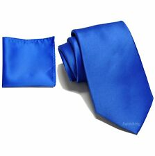 New Brand Q wedding prom Polyester Men's Neck Ties with Hankie Royal Blue
