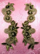 """Floral Costume Appliques Mirror Pair Set Sequin Beaded Olive Gold 10"""" (0183)"""