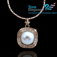 9ct 9k gold tone pearl women wedding solid necklace w/ swarovski element crystal