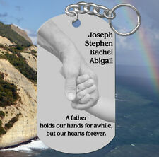FATHER Keychain Gift, Holding Hands. Personalized FREE w' names! Dad, Daddy