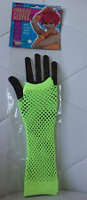 Neon Fluorescent Yellow Fishnet Fingerless Gloves Arm Warmers 80's Raves Cosplay