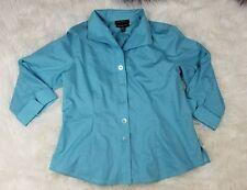 Women's Foxcroft blue button down blouse size 10P petite