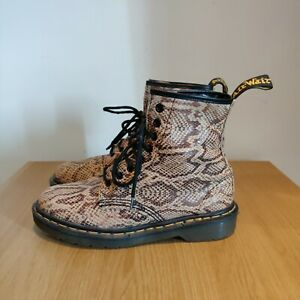 Dr Martens Vintage Pascal 1460 Snake Yellow Gold Brown Boots England UK 6