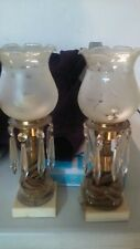 Antique Pair Electric Lamps Ornate Brass Hand Cut Crystal Prisms Marble Base 12""
