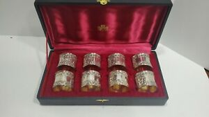 Vintage Set 8 Monogram Silver plated with gold Napkins Rings made in Japan Case