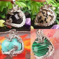 Retro Natural Crystal Hexagonal Gemstone Dragon Charm Pendant Necklace Jewelry