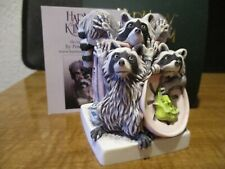 New Harmony Kingdom Trash Talk Raccoons Artist Painted & Sgn Rare Color Var.