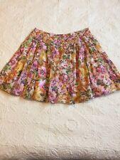 American Living 100% Cotton Floral Lined Skirt Women's Size 16 Zipper Pleats