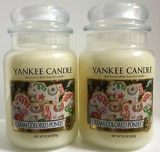 Yankee Candle CREAM COLORED PONIES 22oz Jar My Favorite Things lot of 2