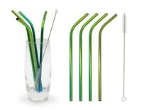 Eco-friendly Reusable Iridescent Rainbow Stainless Steel Straws Brush Set Drinks