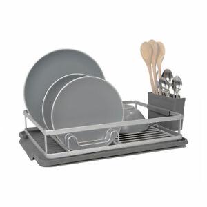 Calitek Aluminium Dish Rack Drainer With Drip Tray And Cutlery Holder