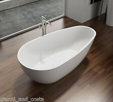 "Free Standing Solid Surface ""Stone"" Bath Tub - 1600x800x540mm Matt White"