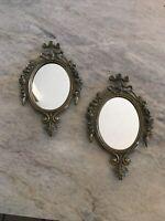 Vintage Ornate Victorian Mirror Pair Lot Set Miniature 3x5 Antique Gold