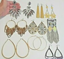 Huge extra large earrings. Gold tone hoops, fringe, daisy dangle, statement +