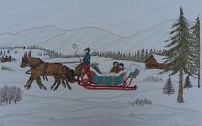 HADDELSEY Vincent : Traineau en hiver - LITHOGRAPHIE Originale signée #100ex