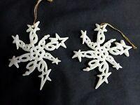 Christmas SNOWFLAKE ORNAMENT Set of 2 White Glitter 3D Swirls Plastic Holiday
