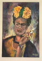 Frida Kahlo oil painting on canvas signed & stamped hand carved FRAMED