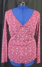 Pink Sheer Overlay XL Purple Top Lined Shirt V Neck Twist Blouse Women's VTG NYC