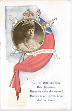 1911 Postcard Vignette Queen Mary Rule Britannia writer not going to Coronation