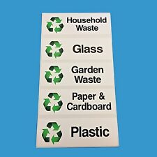 RECYCLING STICKERS FOR WHEELIE BINS Pack of 5 each measuring 150mm x 50mm
