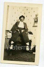 1930s snapshot photo Halloween Man in costume hobo  bum #2