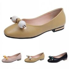 Elegant Womens Solid Flat Loafers Shoes Pumps Low Heel Summer Round Toe Comfy B