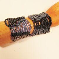 Set of 2 Blue Black Multi Strand Handmade Swag Stretch Seed Bead Bracelets
