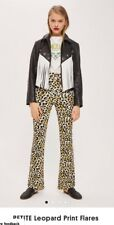 Topshop Petite Leopard Print Flares Size 12 Leggings Trousers
