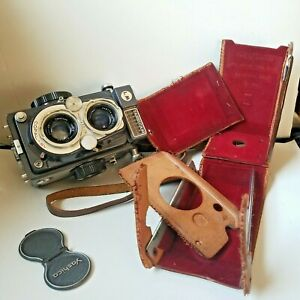 Yashica-44 LM Grey Vintage Camera UNTESTED, With CASE Pieces SOLD AS IS