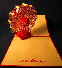 Cards with 3D pop-up sculptures, birthday/any occasion, set of 5 - free shipping