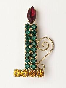 Vintage AB Rhinestone Christmas Candle Holly Wreath Gold Tone Pin Brooch