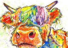 """Cow Colourful Animal wall art printed on canvas 22'' X 16"""" solid frame"""