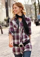 Cotton Button Down Collar Checked Tops & Shirts for Women