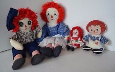Raggedy Ann & Andy Stuffed Doll Lot of 4  LOT2 Handmade