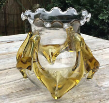 Vintage 1960's Glass Lampshade Light Drip Amber Over Clear - Murano Style
