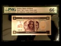 ERITREA 1 Nakfa 1997 Banknote World Paper Money UNC Currency - PMG Certified