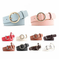 Round Buckle Waist Belt Vintage Metal Boho Leather Womens Lady Waist Belt Band