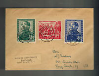 1951 Meissen East Germany DDR Cover to USA Mao Tse Tung Set # 82-84