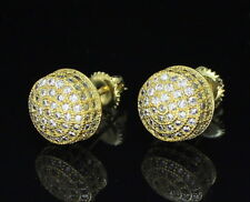 Mens Round Domed Studs 10mm Cz 14k Gold Plated Screw On Earrings Hip Hop