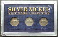 USA Silver War Nickel Set Mint Mark Collection P + D + S
