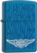 Zippo Harley Davidson HD Wings Ghost Flames, Sapphire Lighter 28687 L@@K NEW
