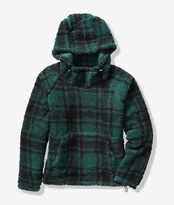 VICTORIA'S SECRET PINK SHERPA FUNNEL NECK COZY HOODIE PULLOVER PLAID size S